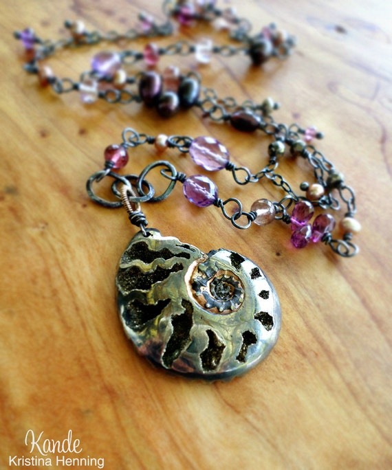 Ammonite Gemstone Necklace Fossil Pink Garnet Purple Amethyst Pyrite Strand Wire Wrapped Pendant Oxidized Sterling Silver Kande Spring