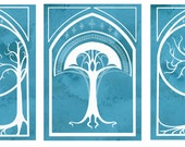 Trees of Middle Earth - Print set featuring Tolkien Tree Motifs