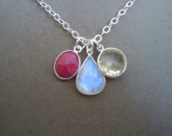 Cavalera -- Rainbow Moonstone, Ruby, and Lemon Quartz necklace