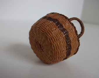 Miniature hand woven bushel basket with handles, laundry basket 1/12th scale, made to order