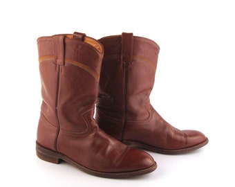 Cowboy Boots Vintage 1980s Brown Roper Leather Flat men's size 8 1/2