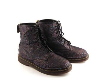 Glitter Doc Martens Vintage 1990 Black Dr Boots UK Size 11 Men's size 12