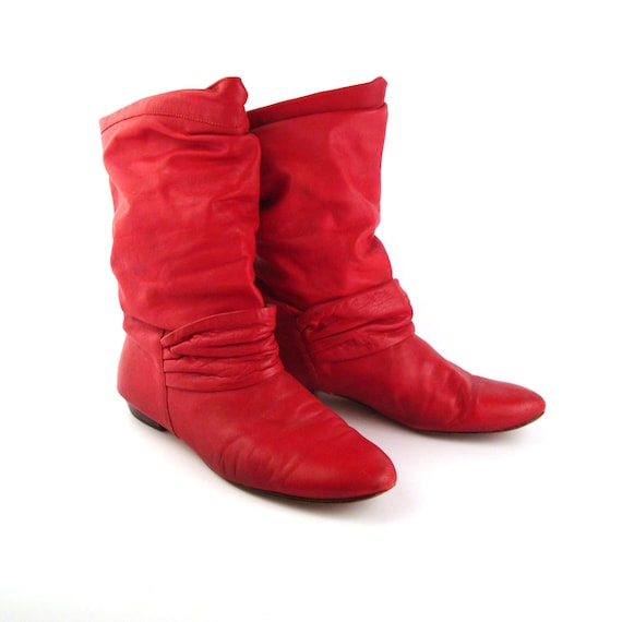 Red Leather Boots Vintage 1980s Flat Slouch Short Women S