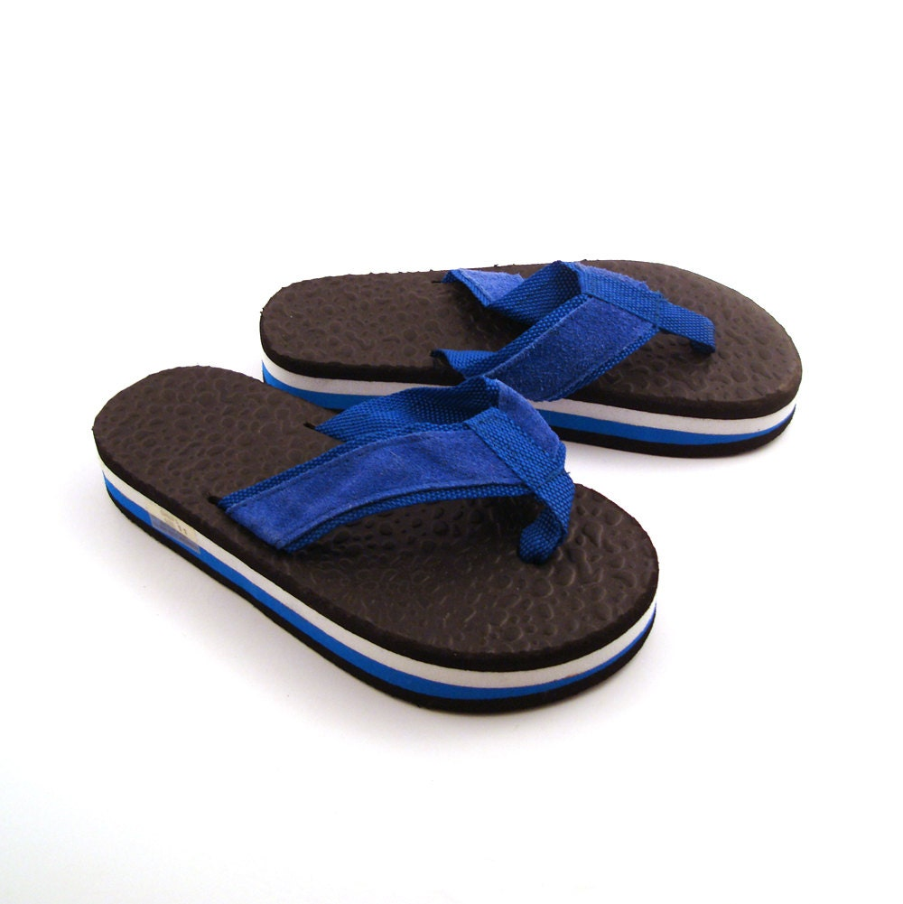 1980s Flip Flops Vintage Thongs Blue And White Sandals