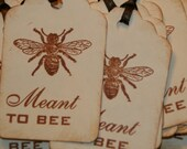Meant To Bee Tags, Vintage Stylr,  Bridal Shower Favor Tags, Wedding Favor Tags, Wedding Wish Tree Tags