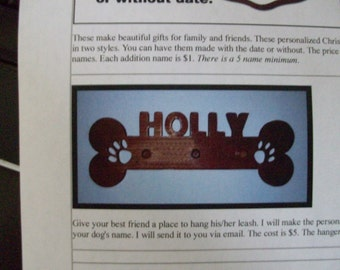 Personalized wooden dog leash hanging