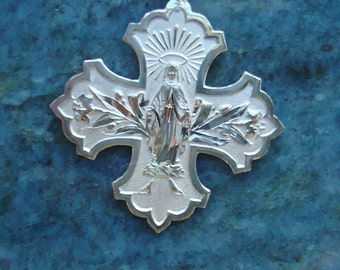 French Vintage Sterling Silver Holy Virgin Mother Mary Cross Medal Pendant New Old Stock