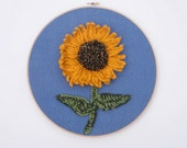 SALE Large Crochet Sunflower Hoop Art, ready to ship.