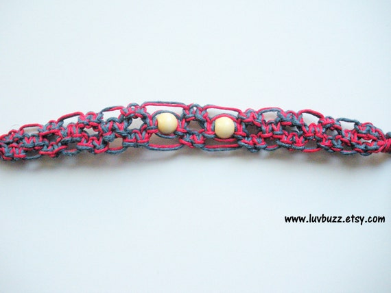 women's large patriotic hemp bracelet