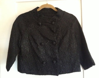 Vintage Cropped Black Dress Jacket Union Made Bracelet Sleeves