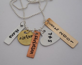 Personalized Necklace, Hand Stamped Mixed Metal Cluster, Jewelry, Mom, Grandma, Anniversary, Custom
