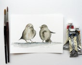 giclee print of an ink and watercolor painting of 2 sparrows