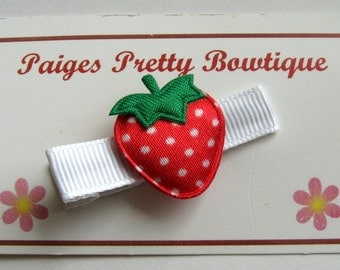 Red & White Polka Dot Strawberry Clip-Baby Hair Clip-Toddler Hair Clip-Girls Hair Clip-Alligator Clip