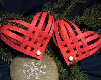 Hand Woven Red Nordic Heart
