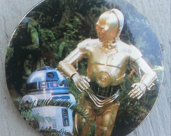 1983 Return of the Jedi R2D2 and C3PO Pin back Button by Adam Joseph