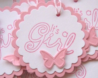It's a Girl, Baby Gift Tags, Pink and White Baby Girl Tags, Pink Butterfly tags