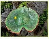 Subtle beauty in the Garden - a cast leaf water lily birdbath/feeder on a pole (Leaf 1296)