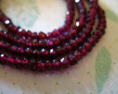 Shop Sale..  GARNET Rondelles Beads, Luxe AAA, 1/2 Strand, 3 mm, Raspberry Burgundy, Faceted, January birthstone brides bridal .,