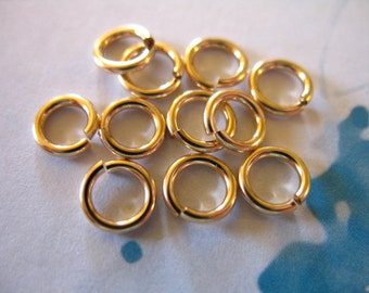 Shop Sale.. 5 10 20 50 100 pcs, 14k Gold Filled LOCKING Jump Rings JumpRings Jumplocks Bulk, OPEN, 6 mm, 18 gauge, thick. GFJR6mm solo