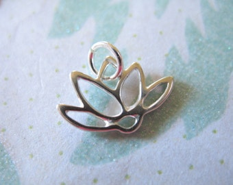 Clearance Sale.. Silver LOTUS Pendant Charm, 1 pc, Sterling Silver Lotus Flower Outline, 12.5x14.5 mm, yoga layering minimal floral sf.lotus