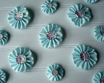Yo Yo Flower - Fabric Yo Yos - Wedding Decor - Wedding Decoration - Wedding Bling - Bridal Bling - Mint Green