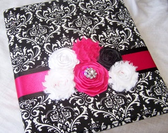 WEDDING GUEST BOOK - Black Damask, Hot Pink, Modern Shabby Chic Style with Photo Spot, Custom colors available
