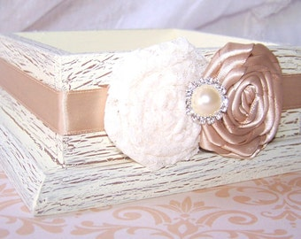 Ring Box, Ring Bearer Pillow Box - Rustic Ring Box, Ivory Lace and Champagne/Tan, Ivory Shabby Chic box, Ring Dish, Custom