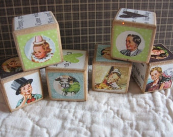 Set of Six Vintage Style Storybook Medium Wooden Blocks with Tip Jack and Janet CIRCUS