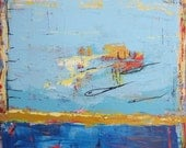 Blue Art Original Modern Painting Abstract Contemporary Fine Art by Francine Ethier, 30x40 inches,