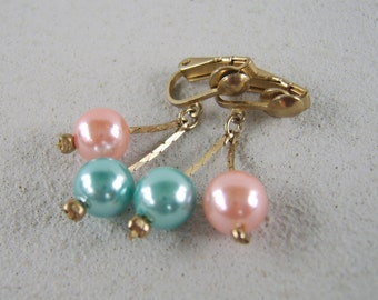 Vintage Pastel Pink Blue Pearl Earrings Clip On Dangles