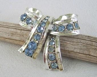 Vintage Rhinestone Silver Bow Brooch Aquamarine
