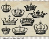 Instant Download - 30 Vintage Crowns Megapack, digital clip art and photoshop brushes: Commercial and Personal Use
