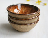 Prep Bowls - Set of Three Small Rustic Bowls - Brown and Black Raw Stone Ceramic Bowls - Handmade Stoneware Dipping Bowls - Specked Pottery