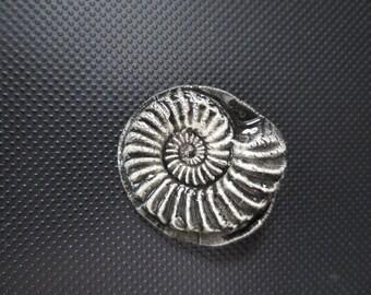 Charcoal Grey Black Ammonite Fossil Ceramic Brooch Pin