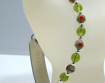Green Red Millefiori Glass Beaded Medical ID Bracelet