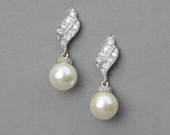 Wedding Earrings ,Bridal Pearl Earrings ,Wedding Crystal Earrings , Ivory Pearl Earrings ,Bridal Swarovski Earrings ,Wedding Jewelry