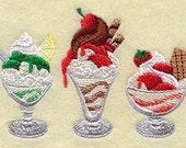 Ice Cream Sundae Embroidered Flour Sack Towel / Hand Towel / Bath Towel / Apron