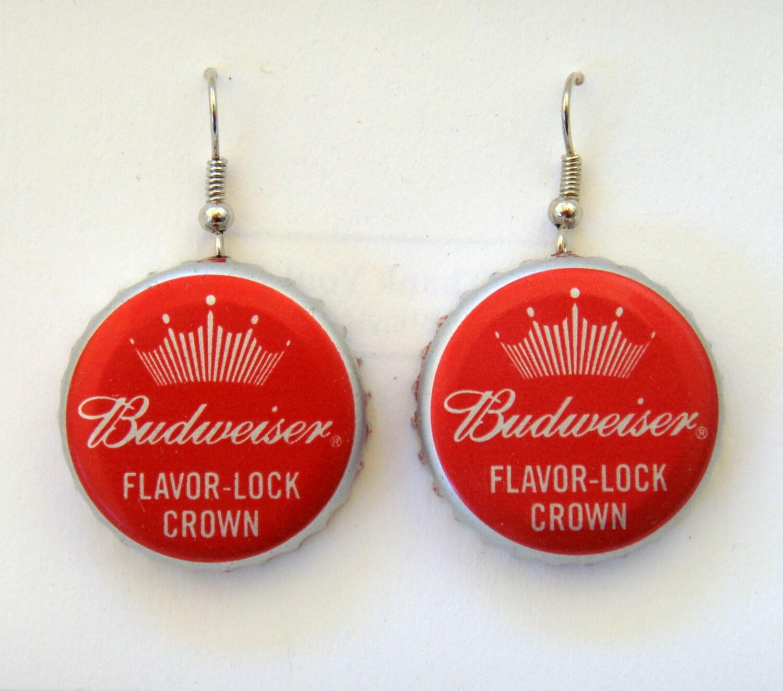 Budweiser crown recycled beer bottle cap earrings - Beer bottle caps recyclable ...