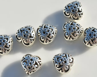 20 Silver Plated 13mm Heart Shape Beads  BD401