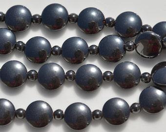 1 Strand Hematite 10mm Flat Round Beads BD865