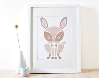 Rabbit Print, Nursery Art, Animal Print, Bunny Art