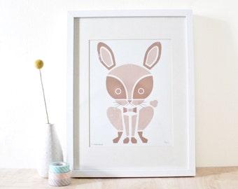 SALE! Rabbit Print, Nursery Art, Animal Print, Bunny Art