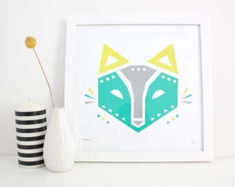 Geometric Fox Print, Screenprint, Woodland, Modern