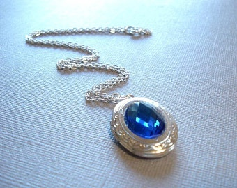 Silver Locket Jewel of the Sea Heart of the Ocean Titanic Necklace Necklace Sapphire Necklace September Birthstone Necklace  Blue Locket