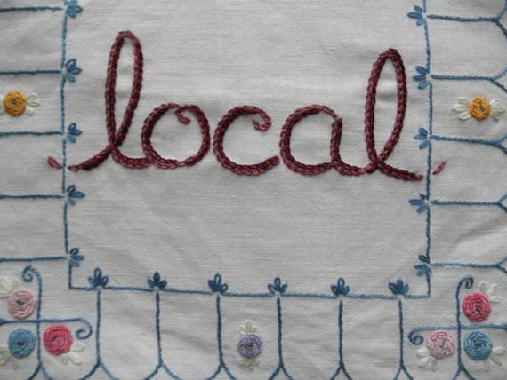 LOCAL TOTE, hand embroidered doily ,eco friendly, great gift