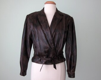 80s leather jacket / embossed avant garde tie waist cropped coat (m - l)