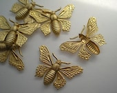 6 large brass butterfly charms No. 5
