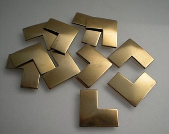 12 small flat brass chevron stamping blanks