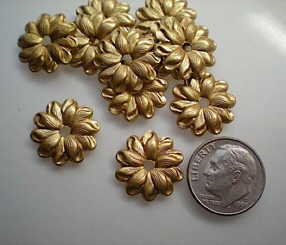 12 Brass Mirror Rosettes No 10 Small