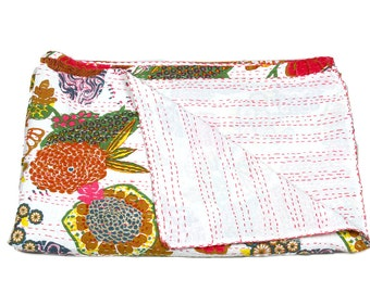 Twin Size Bedcover in White - Throw - Katha quilts - Quilted bedcovers - Reversible Quilt - Floral Quilt - Spring Collection Quilts